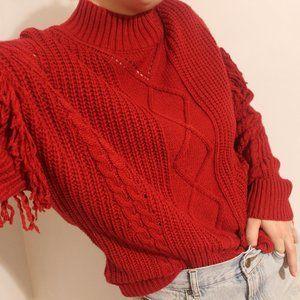 American Rag Juniors Sweater Red Fringe Knit
